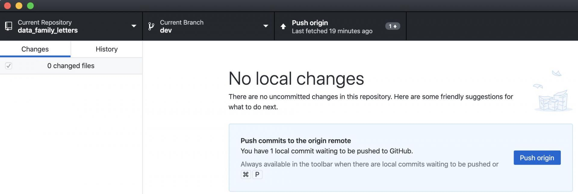 Github Desktop with push indicator of one commit ready