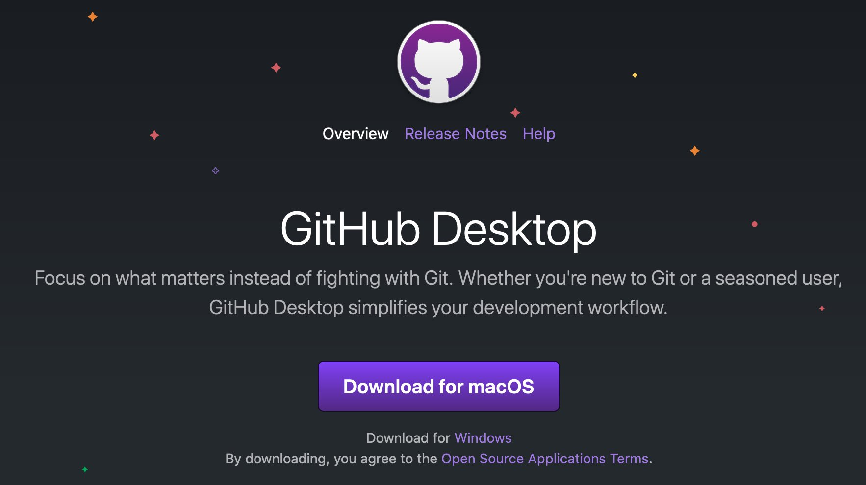 Screenshot of GitHub Desktop webpage