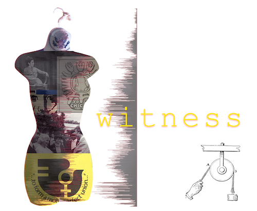 Image of a torso filled with images and the text 'to form a more perfect union' with the word 'witness' over the top, a diagram of a pulley is on the lower right of the image