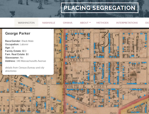 Screenshot of map from Placing Segregation website